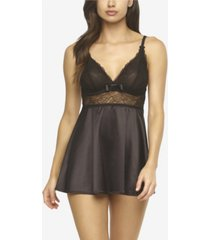 jezebel women's gloria satin and lace babydoll with g-string