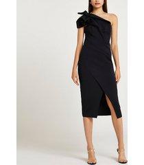 river island womens black asymmetric midi dress