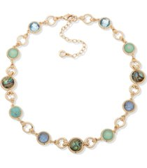 """anne klein gold-tone crystal, stone & abalone collar necklace, 16"""" + 3"""" extender"""