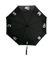 moschino guarda-chuva com estampa de logo de letras - preto