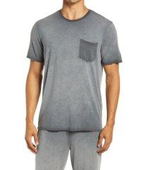 men's daniel buchler modal blend pocket pajama t-shirt, size small - black