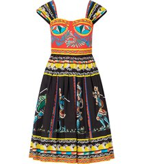 bustier midi dress in carretto-print poplin