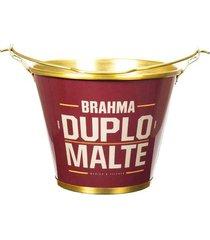 balde de gelo alumiart brahma duplo malte em alumínio vermelho e dourado 5l