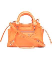balenciaga mini neo classic city tote bag - orange