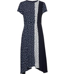 dress woven fabric jurk knielengte blauw taifun