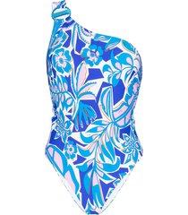 emilio pucci one-shoulder floral swimsuit - blue
