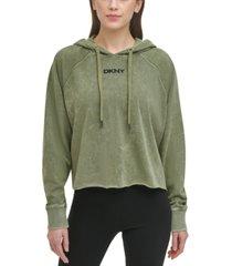 dkny sport women's cropped acid wash hoodie