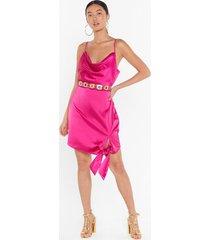 womens tie a lil harder satin mini dress - hot pink