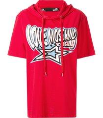 love moschino logo short-sleeve drawstring hoodie - red