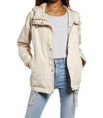 women's levi's water resistant hooded rain jacket, size medium - beige