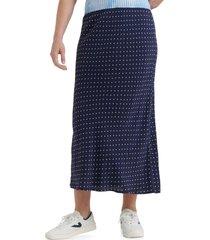women's lucky brand willa polka dot slip skirt, size small - blue