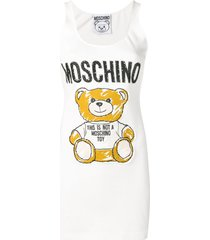 moschino teddy-appliqué cotton-blend sleeveless mini dress - white