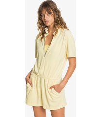 quiksilver womens short sleeve half-zip collared playsuit