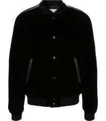 saint laurent teddy squelette bomber jacket - black