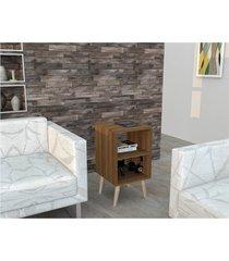 mesa de apoio linha retrô 2 nichos castanho lilies móveis