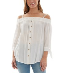 bcx juniors' cold-shoulder top
