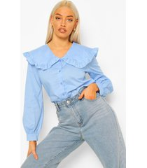 blouse met peter pan kraag en franjes, pale blue