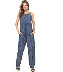macacã£o jeans forum cargo utilitã¡rio azul - azul - feminino - poliã©ster - dafiti