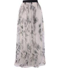 brunello cucinelli embroidered tulle skirt