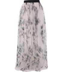 brunello cucinelli embroidered tulle skirt