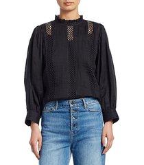 frame women's lace ruffle collar top - noir - size xs