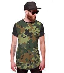 camiseta di nuevo longline exército camuflada personalizada preta