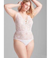 lane bryant women's lace bodysuit 22/24 white