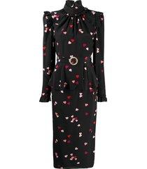 alessandra rich all-over heart print peplum dress - black