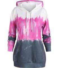 plus size tie dye kangaroo pocket tunic hoodie