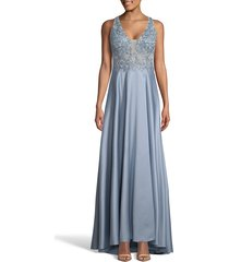 women's xscape embroidered satin a-line gown, size 16 - blue