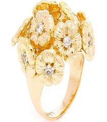 anel  buquê de flores  semijoia banho de ouro 18k  com cravação de zircônias - kanui