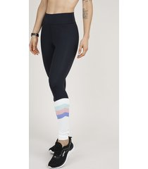 calça feminina legging esportiva ace com recortes preta