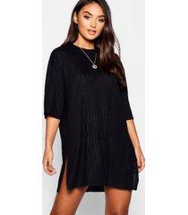 petite ribgebreide soepelvallende t-shirt-jurk, zwart
