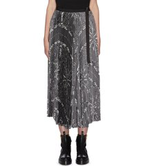 x dr woo bandana scarf graphic print pleated midi skirt