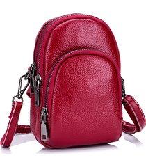 vera pelle vintage 5.5 pollici telefono borsa là strati spalla borsas tracolla borsas per le donne