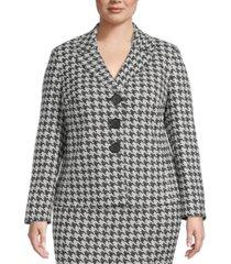 kasper plus size houndstooth jacquard jacket