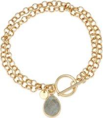 unwritten fine silver plated genuine labradorite toggle chain link bracelet in gold