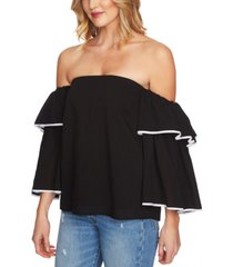 1.state ruffle bell-sleeve off-the-shoulder top
