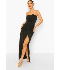 strapless maxi wikkel jurk met split, black