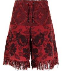 marine serre cross-stitch fringe shorts - red