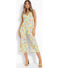 neon bloemenprint culotte jumpsuit met gekruiste rug, white