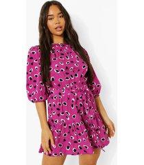 luipaardprint skater jurk met losvallende zoom, pink