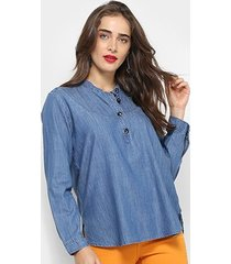 blusa jeans maria filó básica feminina