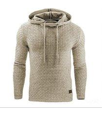 sudadera con capucha en color liso de manga larga para hombres-beige