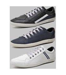 kit 3 pares de sapatênis casual dexshoes preto/azul/cinza