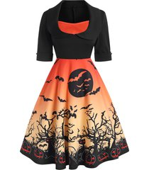 halloween cuffed pumpkin bat print collared dress