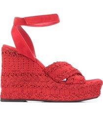 paul warmer open toe braided wedge espadrilles - red