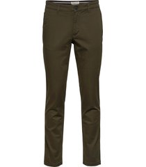 slhstraight-newparis flex pants w noos chinos byxor grön selected homme