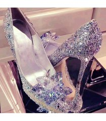 pp155 chic crystal pump with crystal follower top, us size 4-8.5, silver