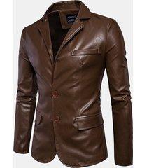 uomo giacca cappotto da motociclista in pelle sintetica in colore a tinta unita